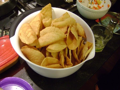 Homemade hard taco shells for TJ's winning Tuna Sashimi Tacos