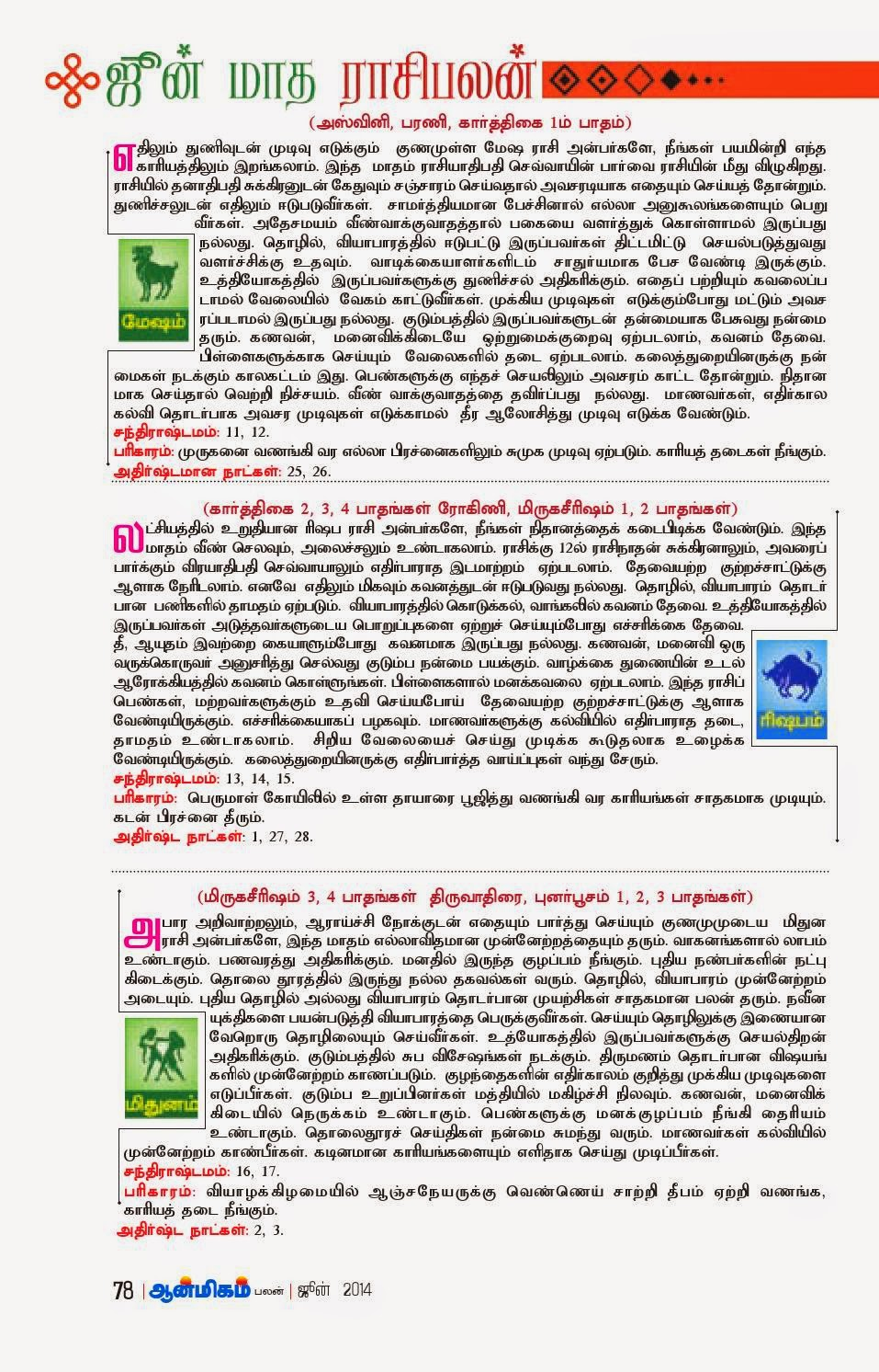 Read Astrological Prediction with Pariharam in Tamil for the month of