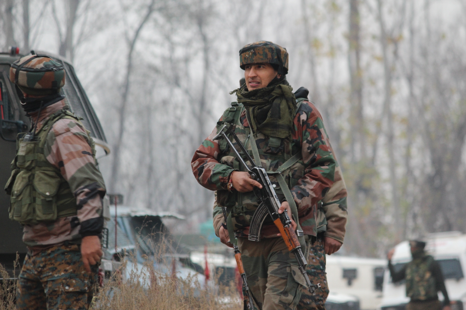 Government forces during a gunbattle in South Kashmir