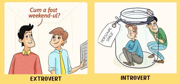 12 ilustrații care arată cum introvertiții și extrovertiții văd lumea12 ilustrații care arată cum introvertiții și extrovertiții văd lumea