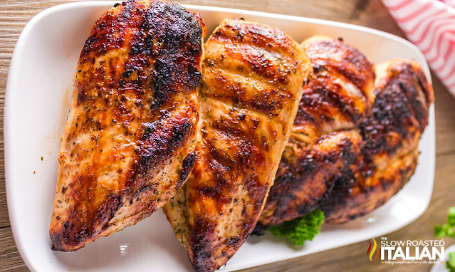 beer marinade chicken on a serving tray