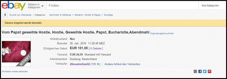 ebay Hostie  Schluß