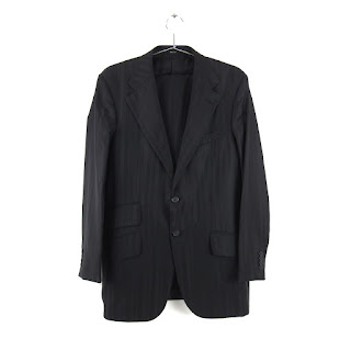 Versace Black Herringbone Two Piece Suit