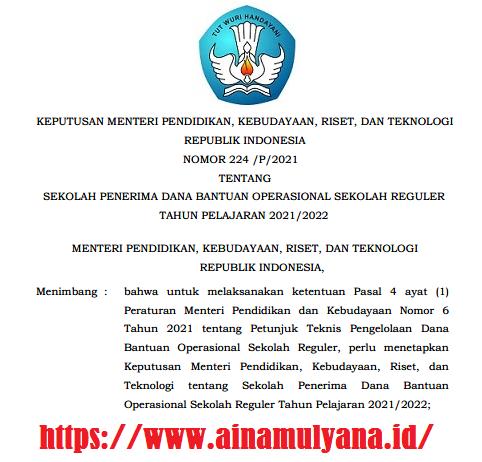 KEPMENDIKBUD RISTEK NOMOR 224/P/2021 TENTANG SEKOLAH PENERIMA DANA BOS REGULER TAHUN PELAJARAN 2021/2022