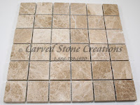 2x2 Emperador Light Marble Tumbled Mosaic