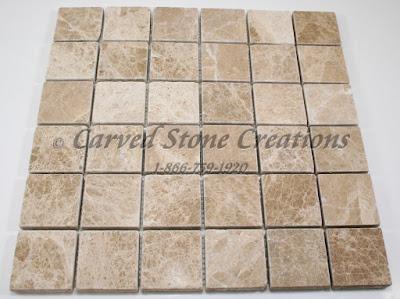 2x2 Emperador Light Marble Tumbled Mosaic