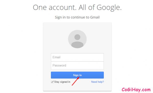 đăng nhập vào gmail