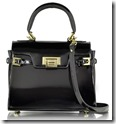 Fontanelli Small Black Structured Top Handle Bag with Long Strap