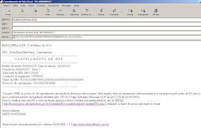 NeXT ERP NFe 2.0 segunda geração email cancelamento XML
