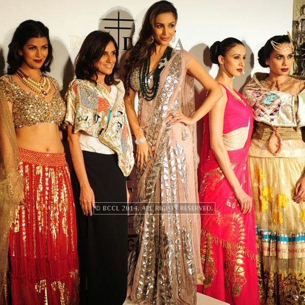 Nimrat Kaur , Rina Dhaka, Malaika Arora Khan with models during the Day 2 of India Couture Week, 2014, held at Taj Palace hotel, New Delhi.
