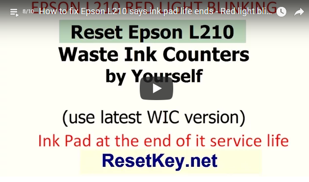 video how to reset Epson L850 printer red light blinking