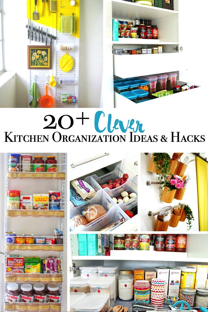 20 Plus clever kitchen organization ideas and hacks to claim the kitchen clutter beast.
