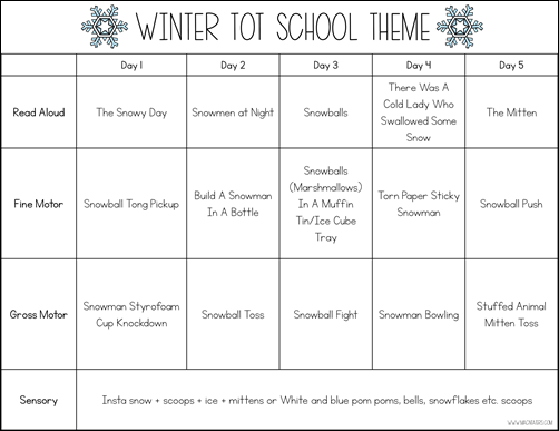 Winter Tot School Theme