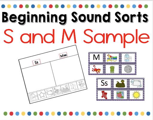 beginning sound sorts for kindergarten