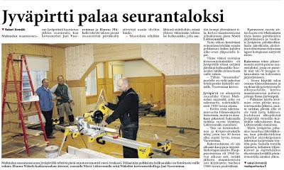 """Hämeenkyrön Sanomat 27.10.2015 """"Jyväpirtti palaa seurantaloksi"""""""