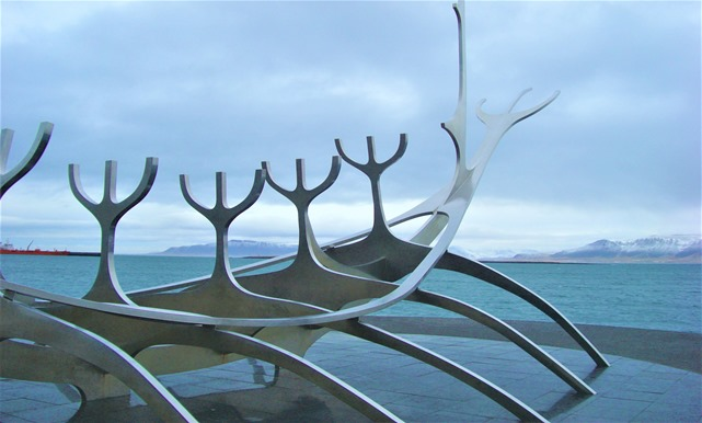 Rekjavik Iceland Viking ship sculpter