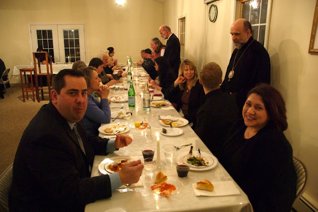 Guests enjoy the meal.
