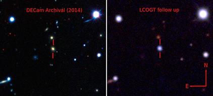 galáxia antes e durante a explosão da supernova ASASSN-15lh