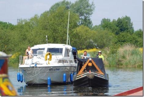 7 narrowboat and cruiser breasted up