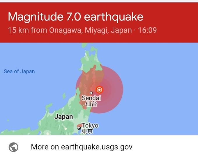 Hari ini, Jepang Diguncang Gempa, 7.2SR