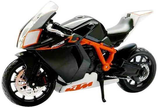 Mô hình xe máy KTM 1190 RC8 R màu đen Bburago nguyên mẫu thu nhỏ tỷ lệ 1/18