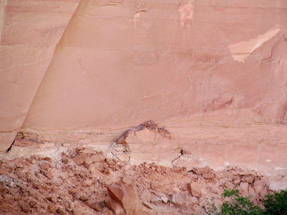 Pictographs barely visible across the river