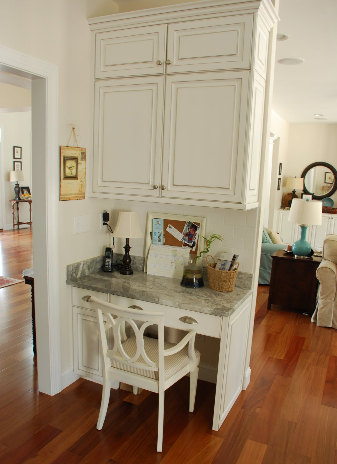 Two carolina nesters organizing the kitchen office area for Small kitchen area ideas