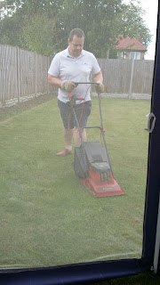 Neil mowing the lawn