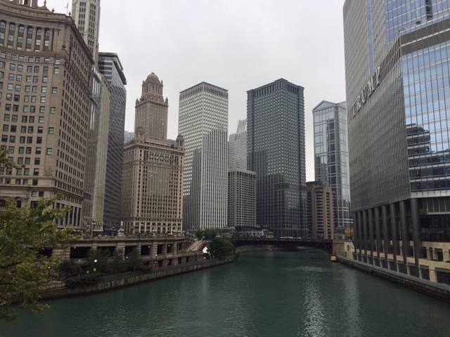 The view of Chicago from DeSable bridge is iconic