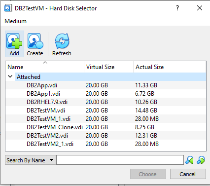 Hard Disk Selector Screen Oracle Virtual Box
