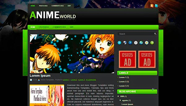 anime blogger template Anime World