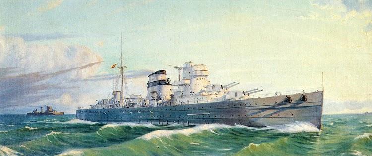 Oleo representando al crucero CANARIAS. De la Enciclopedia La Historia de España.JPG