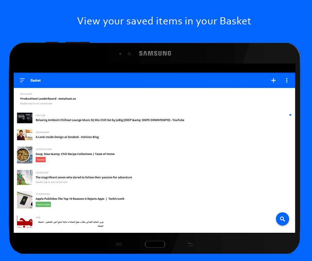 Basket - Bookmark Organizing and Read Later app- screenshot