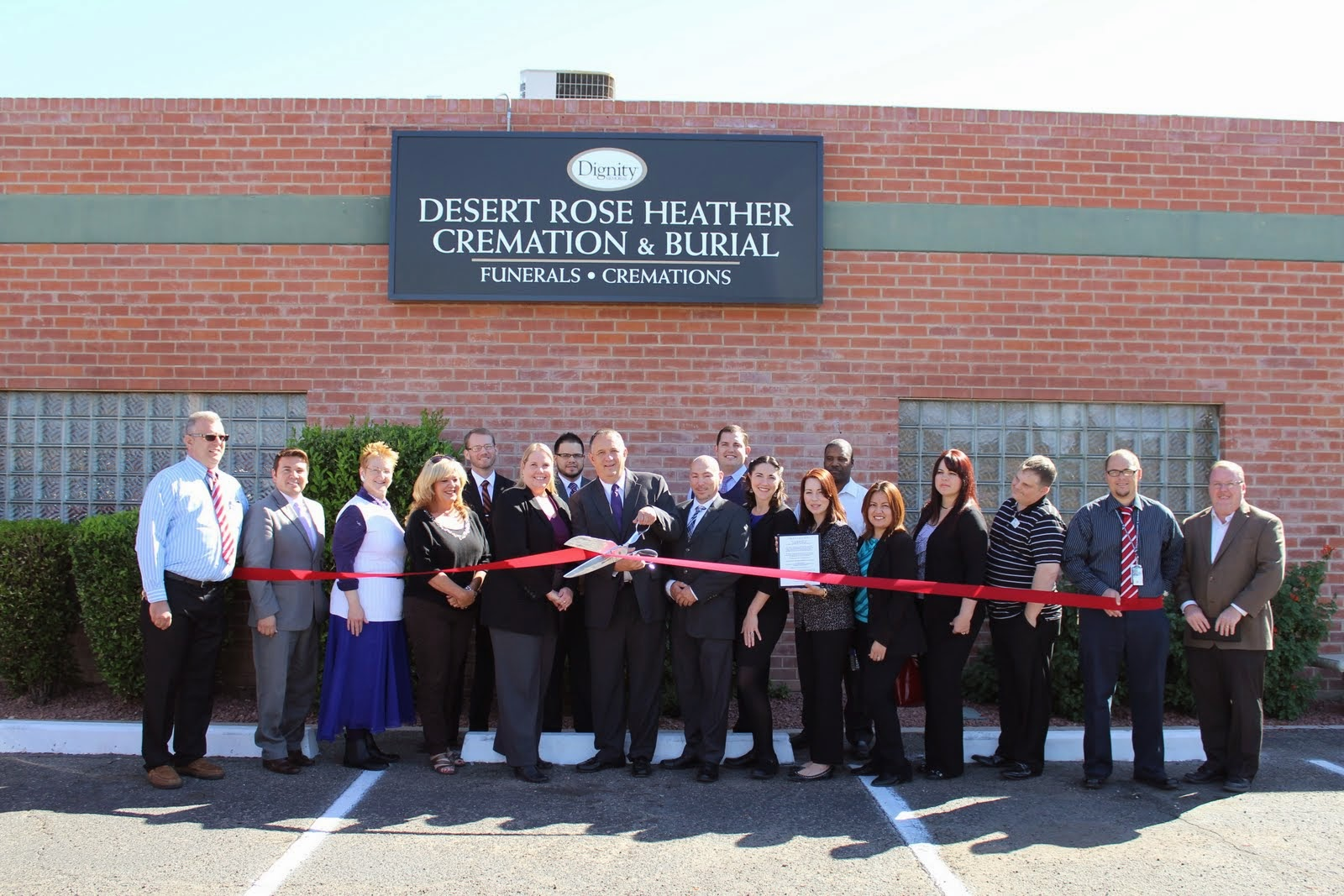Ribbon Cutting Ceremony celebrating the joining of two Dignity Memorial® funeral homes committed to the highest standards of service. Desert Rose Cremation & Burial and Heather Mortuary & Chapel will continue the proud tradition of serving the community with compassionate care, respect and guaranteed satisfaction.