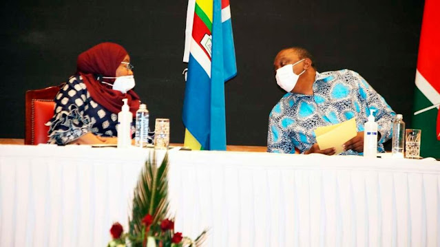 President Uhuru Kenyatta and his Tanzanian counterpart President Suluhu Hassan photo