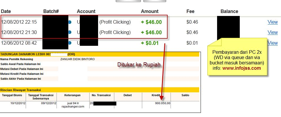 Bukti pembayaran profitclicking