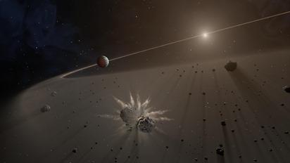 disco de poeira e fragmentos planetários em torno de estrela