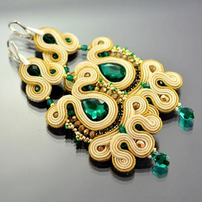 Emerald Soutache Earrings by Ozdoby Ziemi