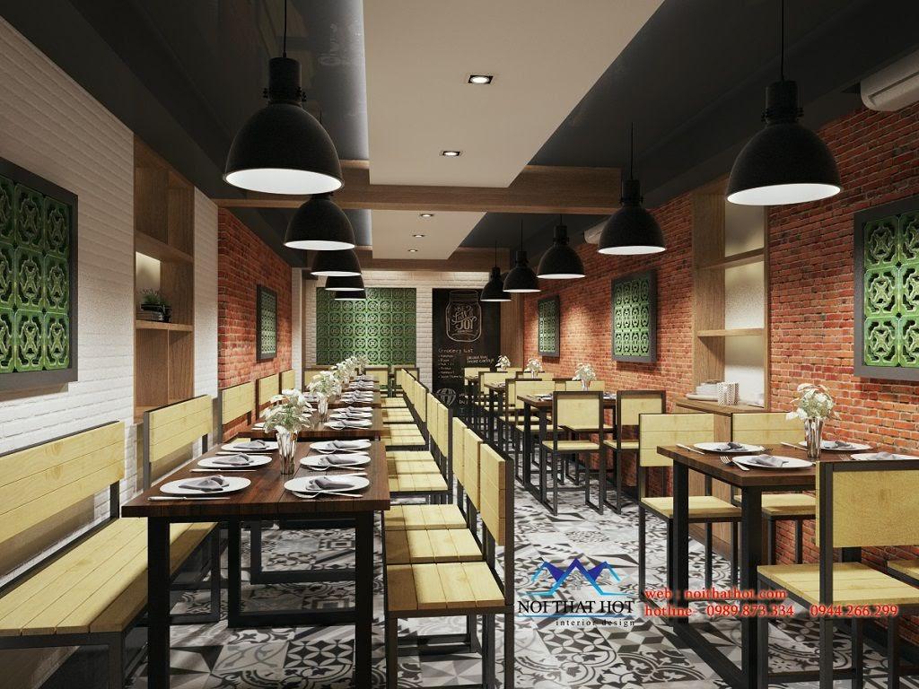 thiết kế quán ăn với tường đỏ, trắng