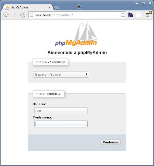 Bienvenido a phpMyAdmin