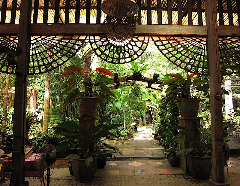 entrance to the garden from the dining area of Patis Tito Garden Café