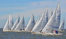 J/22 one-design sailboats- sailing off start in LA