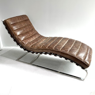 Modernist Chrome and Leather Chaise Lounge