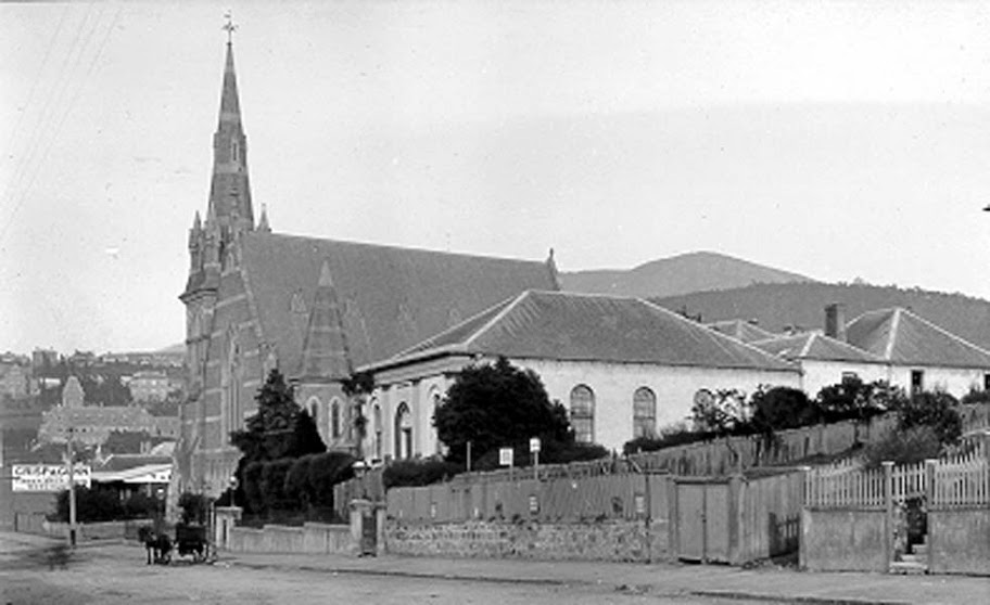 Memorial Church and Memorial Hall, corner Brisbane and Elizabeth Streets, Hobart