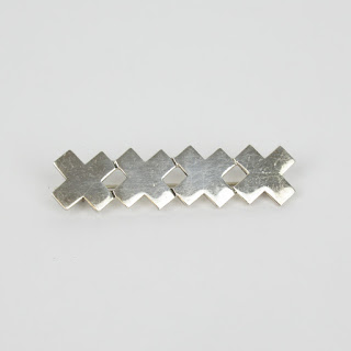 Sterling Silver X Brooch