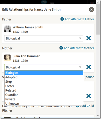 Ancestry Member Tree Edit Relationship popup window