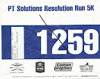 PT Solutions Resolution Run 5K Race Bib