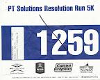 PT Solutions Resolution Run 5K Race Bib