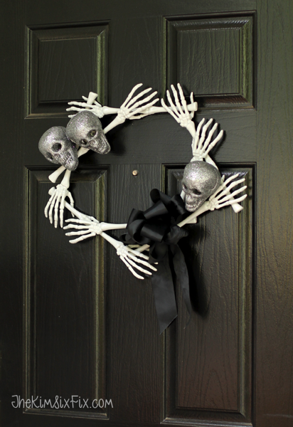 Dollar store skull and bones halloween wreath