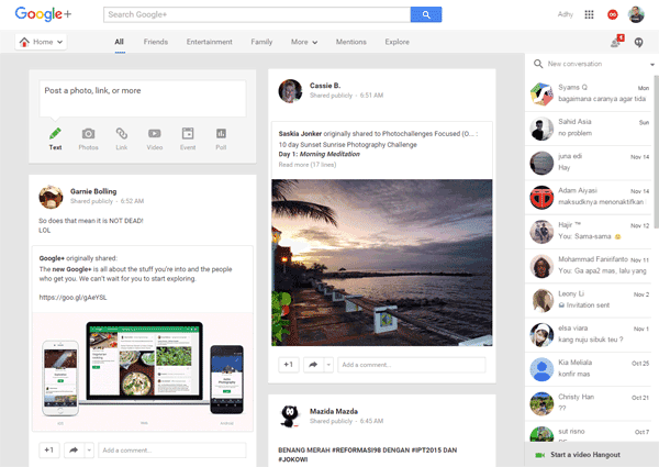 Tampilan lama Google+